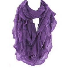 Elegant Purple Soft Woven Infinity Loop Figure Eight Endless Scarf Wrap   One of the popular items of this season, the Infinity Scarf is an easy wrap for a cool evening or a great color accent.. Elegant wrap for a cool evening or a color accent, our Shawl Scarf Wrap is made of wool blended with viscose. Unique understated woven ruffle design pattern allows to wear it as a scarf over you  sweater or suit, a luxurious addition to an evening dress, or just the classic light ...