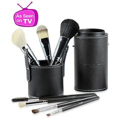 BOGO Offer Listed Below! Best Professional Makeup Brushes Set for Eye and Face, Includes FREE Leather Brush Holder, Great for Travel, Natural Real Hair Kit for Flawless Results