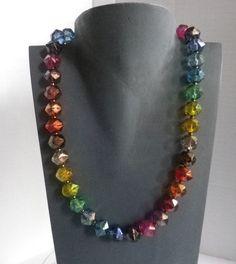 Glasketten - Glasperlen Collier Regenbogen - ein Designerstück von sibea bei DaWanda