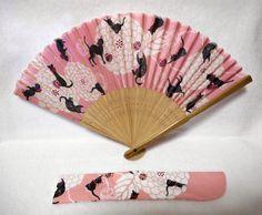 Silk Japanese Folding Fan w/case Cat