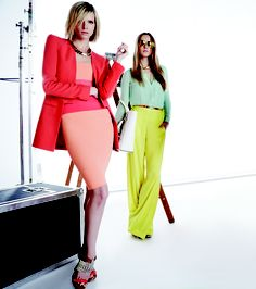 looove the green pants & mint blouse :: bcbg spring 2013