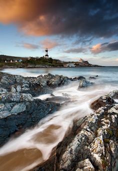 Stroove lighthouse  located on the east coast of the Inishowen peninsula