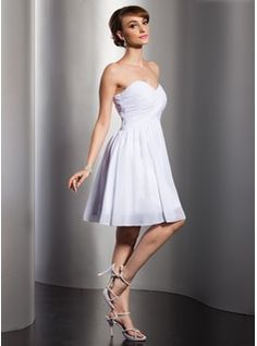 Empire Sweetheart Short/Mini Chiffon Bridesmaid Dress With Ruffle (007014788) - JJsHouse
