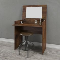 This vanity may be used closed and open. When closed, it acts as a writing desk and convenient casual work space in the bedroom. When open, you will find a mirror and enclosed storage space large enough for beauty accessories, bottles, and more.