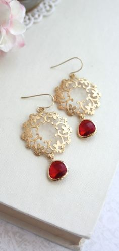Gold Ruby Red, Moroccan, Boho, Gypsy Filigree, Chandelier Red Wedding Earrings. Bridesmaids Gifts. Mothers Day Gift. Fuchsia Red, Winter Wedding by Marolsha.