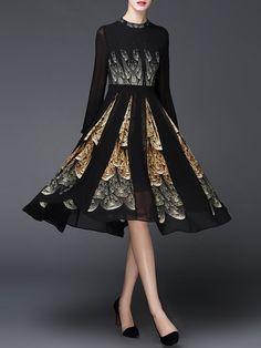 Shop Midi Dresses - Black Printed Polyester Vintage Floral Midi Dress online. Discover unique designers fashion at StyleWe.com.