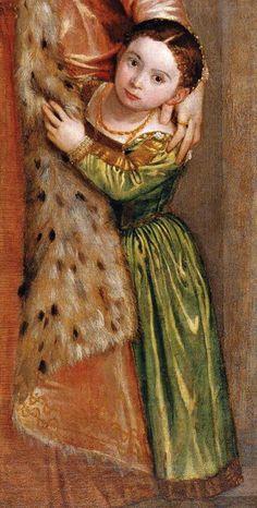 Paolo Veronese. Livia da Porto Thiene and Her Daughter Porzia. Detail. Olga's Gallery.