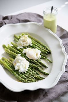 "Asparagus, poached eggs and coconut ""hollandaise"""