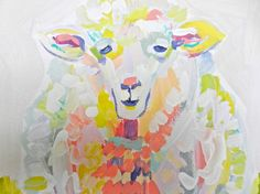 Paige the Sheep 8 x 10 Acrylic on Canvas by EvelynHenson on Etsy