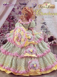barbie+crochet+ball+gown+patterns+free | ... of Dallas Gown for Barbie Fashion Dolls Crochet New Pattern | eBay