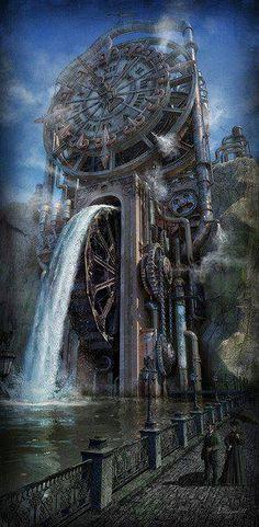 The Time Machine by Dmitriy Filippov Steampunk fantasy water mill Fantasy Places, Fantasy Landscape, Sci Fi Fantasy, Fantasy World, Steampunk Kunst, Style Steampunk, Steampunk Fashion, Steampunk Clock, Steampunk Theme