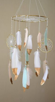 Baby Girl Mobile, Woodland Baby Mobile, Boho Dreamcatcher Mobile, Mint Blush Gold Nursery Mobile Decor, Baby Girl Nursery, New Baby Gift This gorgeous feather baby dream catcher mobile will make all your dreams come true :) This mobile perfect for a baby boy/girl nursery, bedroom