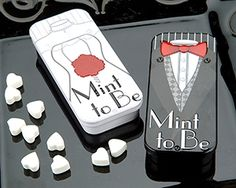 Wedding favor. Could fill any small box or bag with mints and use the 'mint to be' tag