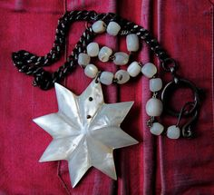 Star Necklace. Mother of pearl star antique rosary by LaCapraCanta