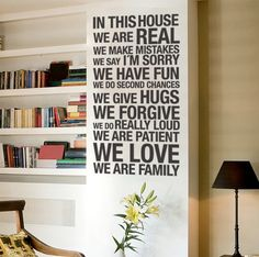 In this house wall sticker for housewares Apply this sticker in any flat surface walls windows doors furniture Deco vinyl for your home Size Size x cm x inches Picture Vinyl Quotes, Wall Quotes, Wall Sayings, Wall Stickers, Wall Decals, Wall Vinyl, Vinyl Art, Cricut Vinyl, Letter Wall Decor