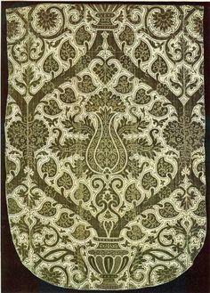 Velvet, with green cut and uncut pile on cream ground 16th century, Genoa Museé des Arts Décoratifs, Paris  A Treasury of Great Italian Textiles, Antonio Santangelo, Harry N. Abrams Inc, New York.