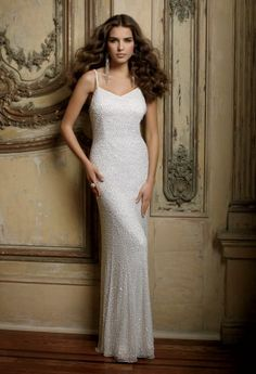 Camille La Vie sleek and body conscious wedding dress with head to toe beading