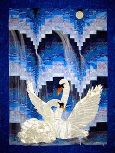 Midnight Mist – Piecemakers Country Store  pattern swans moon waterfall quilt quilting wallhanging