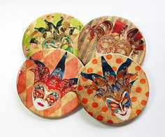 Mardi Gras Coasters Drink Coasters Hostess Gift by KellysMagnets