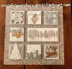 winter art sampler stampin up Christmas Paper Crafts, Christmas Art, Holiday Crafts, Stampin Up Christmas 2018, Box Frame Art, Stampin Up Weihnachten, Christmas Shadow Boxes, Marianne Design, Winter Cards