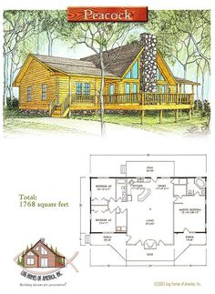 Peacock Log Home Grundriss von Log Homes of America - Peacock Log Home Grundriss von Log Homes of America - Duplex Floor Plans, Log Cabin Floor Plans, Log Home Plans, House Floor Plans, Small Log Cabin Plans, Modular Log Homes, Log Cabin Homes, Log Cabins, Log Home Bathrooms