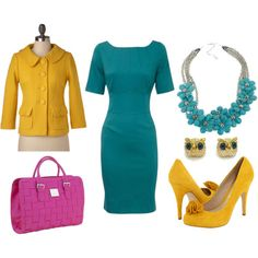 Teal and mustard yellow. Love everything but the pink purse. Especially love the owl earrings.