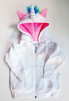 Baby Unicorn Hoodie - Size 18 month - White with pink - horned sweatshirt, rainbow mane, custom jacket, great gift for kids by dkoss2 on Etsy https://www.etsy.com/listing/251476138/baby-unicorn-hoodie-size-18-month-white