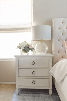 Victorian Home Interior I am so passionate about home decor and I am finally revealing our bedroom decor! I hope you like our neutral and pastel bedroom as much as I do! Small Room Bedroom, Home Bedroom, Bedroom Decor, Bed Room, Bedroom Ideas, Bedside Table Decor, Bedroom Table Lamps, Bedside Table Styling, Bedside Table Design