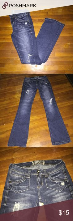 Distressed jeans Gently used distressed straight leg jeans. They have a bit of stretch to them. truce Jeans Straight Leg