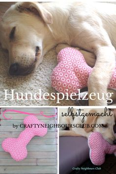 Hundespielzeug selbstgemacht. DIY fürr einen selbstgenähten Hundeknochen auf Craftyneighboursclub