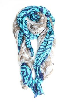 Tropic Stripes Scarf in Blue 20% OFF (only @Chictopia) #Chictopiainbloom