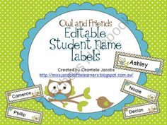 Owl theme student labels (Editable)