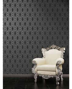 Opulent Shimmer Diamond Black Geometric Wallpaper features a geometric pattern with contrasting finishes for added depth and interest. Free UK delivery available