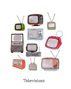 Illustration of Vintage Televisions by Jodi Lynn