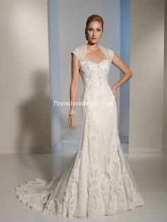 With A Wrap Applique Beading Lace Mermaid Wedding Dress