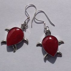 SS Natural Bamboo Coral Turtle Earrings Coral set in sterling silver Stamped 925. Color may vary due to lightning. New! Jewelry Earrings