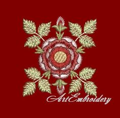 Beautiful for so many projects! Hand Embroidery Tutorial, Free Machine Embroidery Designs, Embroidery Patterns, Sewing Patterns, Tudor Rose, Rose Embroidery, Satin Stitch, Red Roses, Sewing Projects