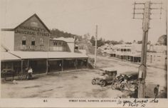 Postcard view of the main street in Nambour, with W.Whalley's Universal Stores on corner, undated / John Oxley Library, State Library of Queensland, Neg: 253691 http://hdl.handle.net/10462/deriv/121345 | thefashionarchives.org