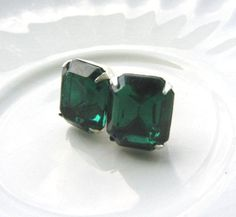 Emerald Green Post Crystal Earrings Silver - Green Stud Earrings - Swarovski - Bridesmaid gifts - Wedding Jewelry
