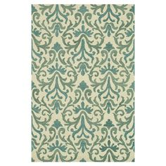 Add a pop of pattern to your living room or den with this eye-catching wool rug, showcasing a damask-inspired motif in ivory and light blue. Handcrafted in I...