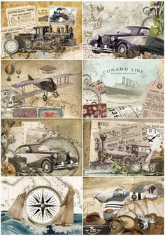 8 Vintage Transport Male Themed Card Toppers (A7 size): Amazon.co.uk: Kitchen & Home