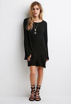 Crochet-Paneled Bell Sleeve Dress | FOREVER21 |