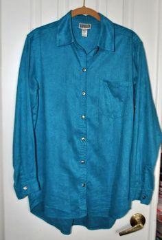 CHICOS 1 Medium M Shirt Teal Blue NO IRON Long Sleeve Button Up Blouse Top Work