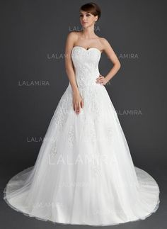 [US$ 224.99] Ball-Gown Sweetheart Chapel Train Wedding Dress With Appliques Lace