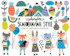 Cute Animals Clip Art Set Scandinavian Style Clipart Design   Etsy