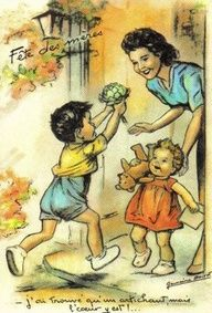 A charming vintage French Mother's Day greeting. #vintage #Mothers_Days #holidays #cards