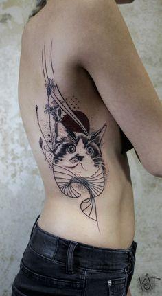 Cat by KOit Tattoo (Berlin). koittattoo@gmail.com | Inked girls | Tattoo ideas | Tattoo artist | cat tattoos | Animal tattoo | Pet tattoo | Photoshop tattoo | Berlin | tattoos for women | Inked | Abstract tattoo | Body art | Graphic tattoo | Inspiration | Tattoo ideas | Cool tattoo design | Rib tattoo | Arm tattoo | Tats | inked | Trash tattoo | Geometric tattoo | Graphic Tattoo | Illustration | Art | Ribs | Tatouage | Tätowierung Tatuaggio Tatuaż Mermaid Tattoos, Feather Tattoos, Leg Tattoos, Girl Tattoos, Tattoos For Guys, Photoshop Tattoo, Tattoo Arm Designs, Tattoo Illustration, Sleeve Tattoos For Women