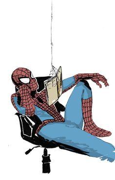 Spidey readin' a book - Spider Man by Will McLaren