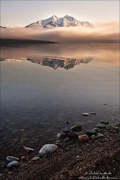 Fog and Mountain.. Lake McDonald, Glacier National Park, Montana.