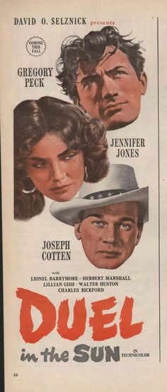 """Duel In the Sun Gregory Peck a big David O. Selznick production sometimes referred to as """"Lust in the Dust"""" Old Movie Posters, Classic Movie Posters, Cinema Posters, Movie Poster Art, Classic Movies, Western Film, Western Movies, Old Movies, Vintage Movies"""